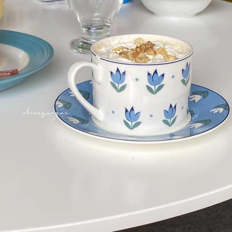 【即納】レトロな水色チューリップのカップ&ソーサー