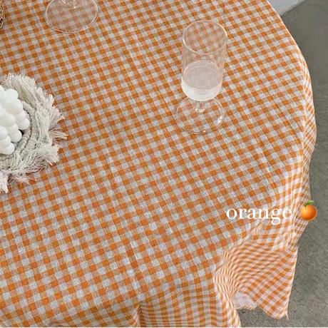 オレンジギンガムチェックのクロス