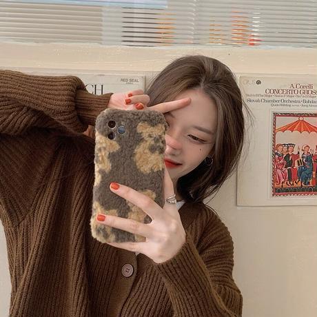 リボンベアのふわふわiPhoneケース