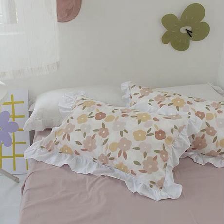 ペールカラーフラワー枕カバー