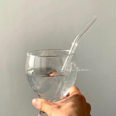 ガラスの透明なカフェストロー
