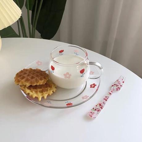 チューリップとお花のクリアカップ&ソーサー