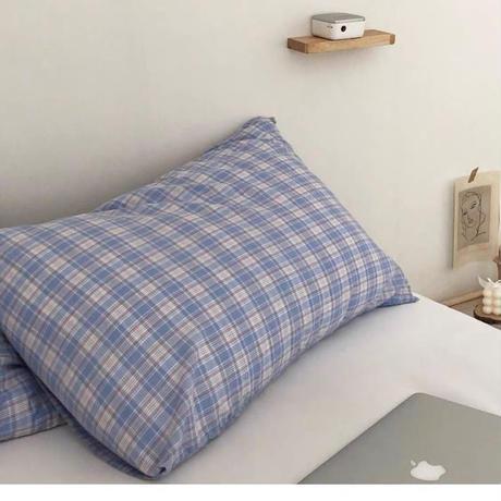 パステルカラーのチェック枕カバー