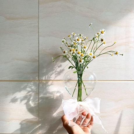 ガラスのハートの花瓶