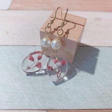 ピンクのかすみ草×コットンパールピアス