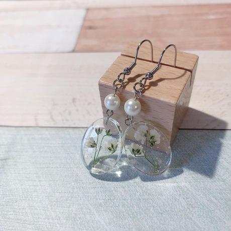 白いかすみ草×パールピアス