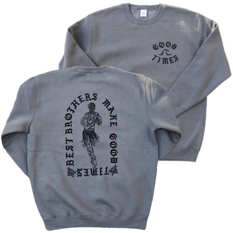 GOOD TIMES ORIGINALS  Tattoed hula girl  クルーネックスウェット セメントグレー/ブラック
