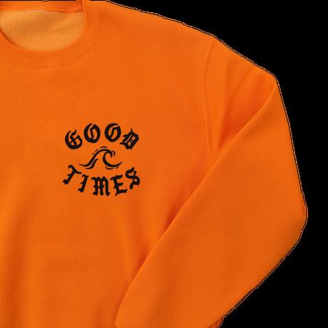 GOOD TIMES ORIGINALS     Tattoed hula girl   クルーネックスウェット パンプキンオレンジ/ブラック