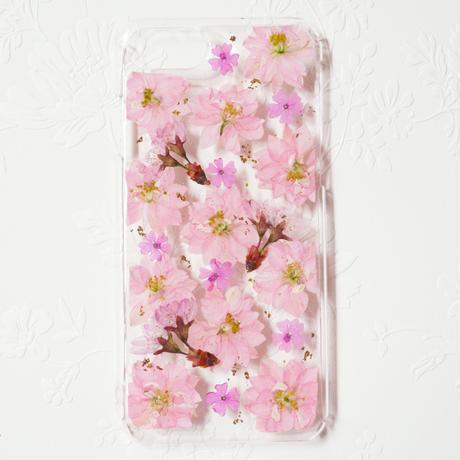 *桜の金箔入り押し花スマホケース*