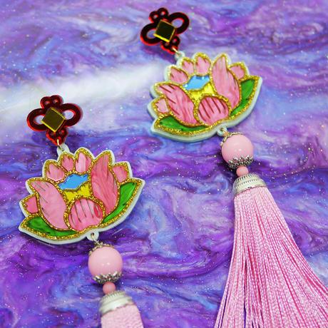 蓮PINK Single Earring/Clip/Brooch 【片耳・ブローチ】