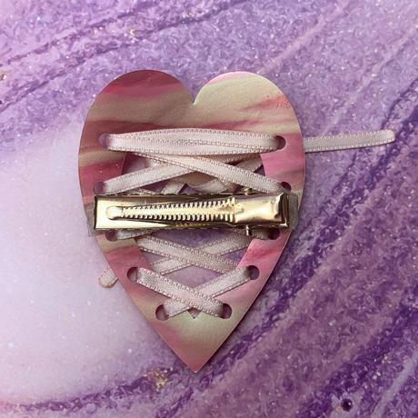【片耳/ヘアクリップ】ハートの レースアップ (Lace pattern)   Lace-up Single Earrings/Hair Clips  のコピー