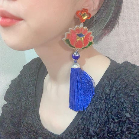 蓮BLUE Single Earring/Clip/Brooch 【片耳・ブローチ】