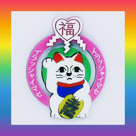 (廃盤)招き猫(ピンク)ピアス/イヤリング/ブローチ Brooch/Single Earrings・Ear clips