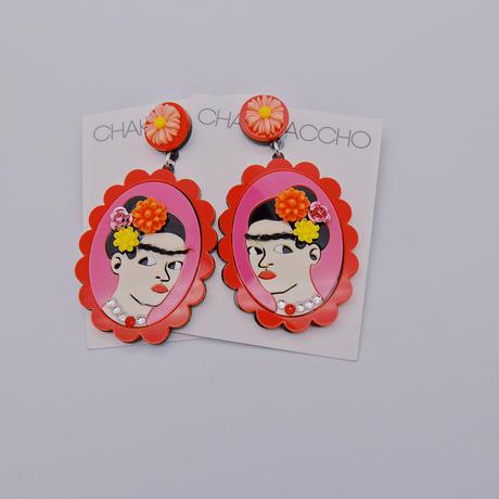 【両耳セット】RED×RED  Frida Khalo