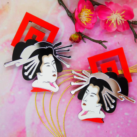 Kabuki×Oiran Silver Earrings/Ear clips