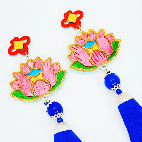 蓮BLUE 両耳 Earrings/Ear clips