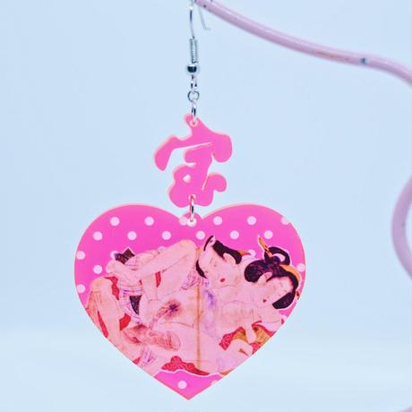 【片耳】春画レッド Single Earrings