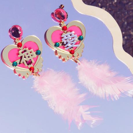 【片耳】アガペー 神  Pink Magical Heart   Single Earrings