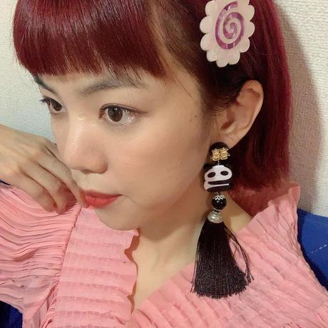 【片耳】パンダ 黒タッセル   Single Earrings /Ear Clips