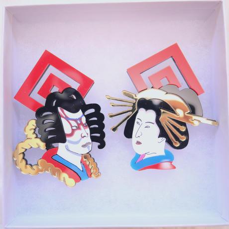 【片耳/ブローチ】KABUKI  Brooch/Single Earrings (カラバリ有り)