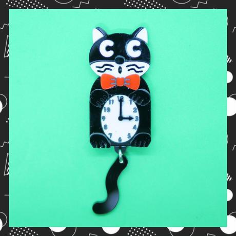 猫時計(片耳)ピアス/イヤリング/ブローチ Chakit Cat Brooch/Single Earrings・Ear clips