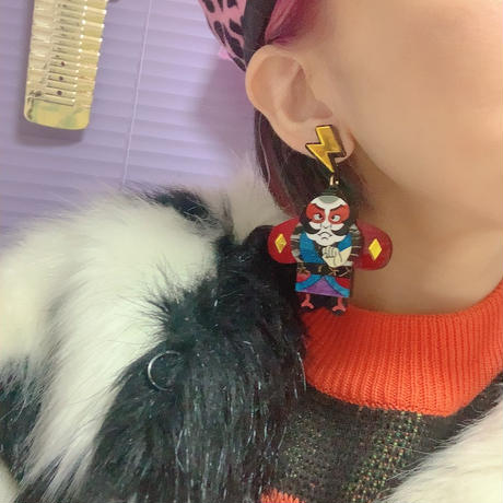 Yakko Dako Red   Single Earrings/Ear clips
