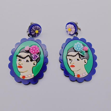 【両耳セット】BLUE×BLUE  Frida Khalo
