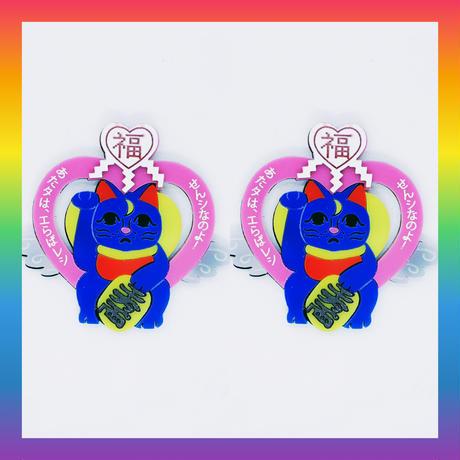 (廃盤)魔法猫ピンク (片耳)ピアス/イヤリング/ブローチ Lucky Luna Brooch/Single Earrings・Ear clips  のコピー