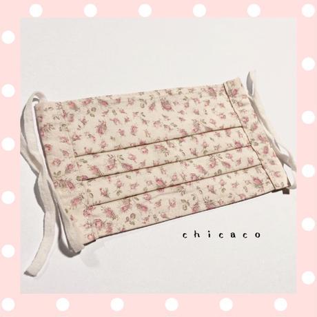 ノーズワイヤー入り♡コットンプリーツマスク flower mini rose
