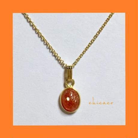 宝石質天然石サンストーンのネックレス