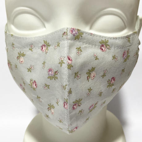 ノーズワイヤー&ポケット付き♡立体マスク flower gray