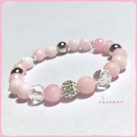 アロマ香るパワーストーンブレスレット ピンク&ホワイトジェード
