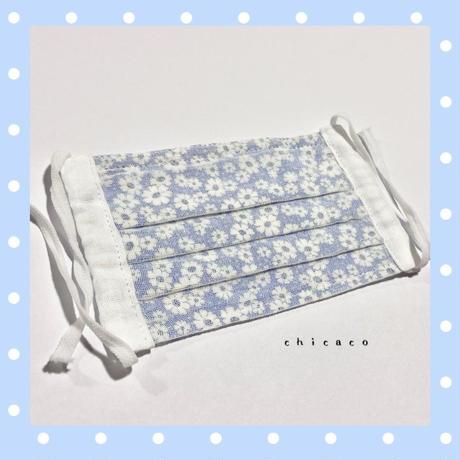 ノーズワイヤー入り♡コットン&ガーゼプリーツマスク flower blue