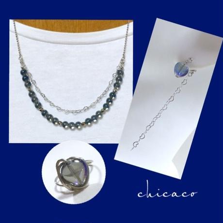 ダークブルー水晶のネックレス
