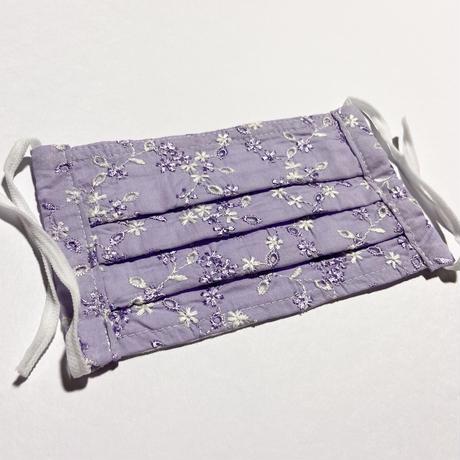 ノーズワイヤー入り♡コットンプリーツマスク flower lavender lace
