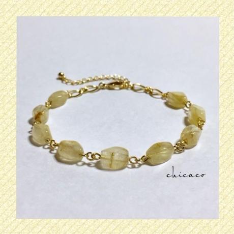天然石ルチルクォーツのブレスレット gold