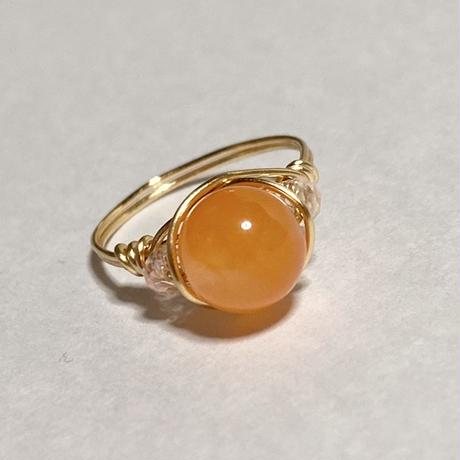 天然石オレンジジェードのワイヤーリング