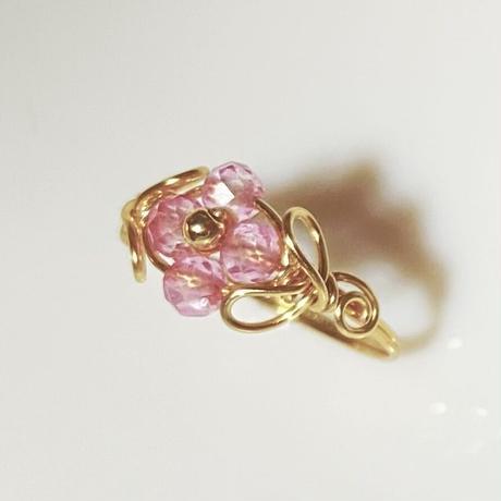 宝石質天然石ピンクトパーズのワイヤーリング