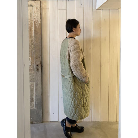 ニット × キルティング コート