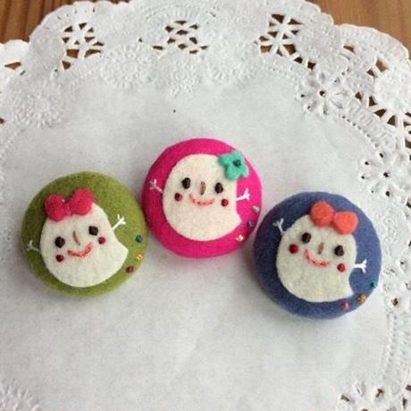 レッツハロウィン☆ くるみボタンおばけちゃん3人娘。