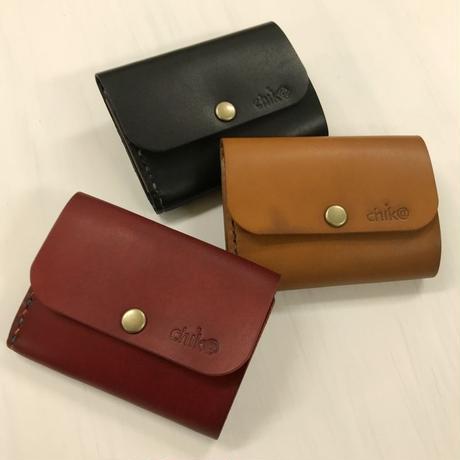 手縫いの小型の三つ折りウォレット(お財布)