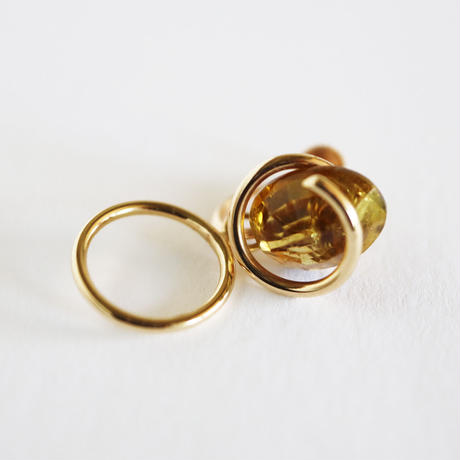 Circle / Clip on Earring Tourmaline  イヤリング (single)