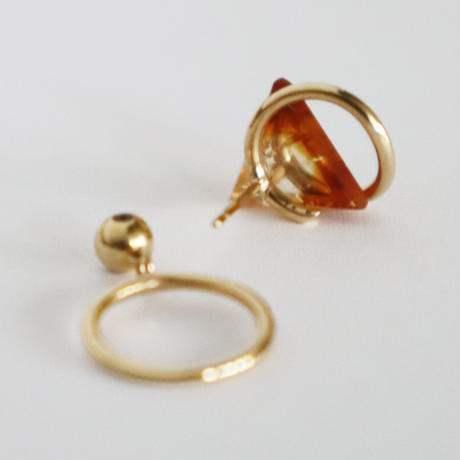 Circle / Pierced Earring  Citrine ピアス(single)