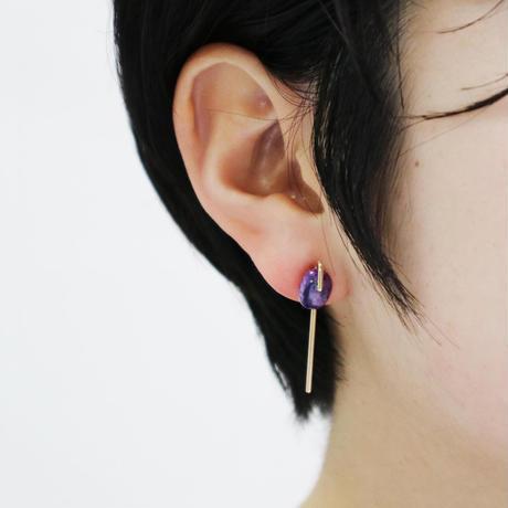 Line / Pierced  Earrings By color Tourmaline ピアス (single)