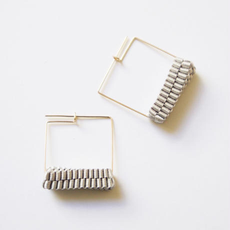 Square/  Pierced Earrings Gray ピアス