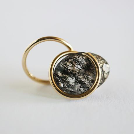 Circle / Pierced Earring Rutile quartz  ピアス   (single)