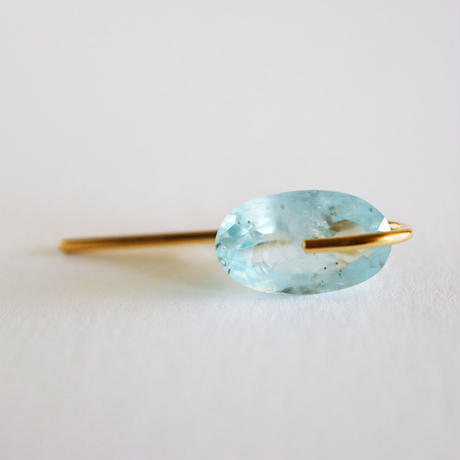 Line / Pierced  Earrings Aquamarineピアス (single)