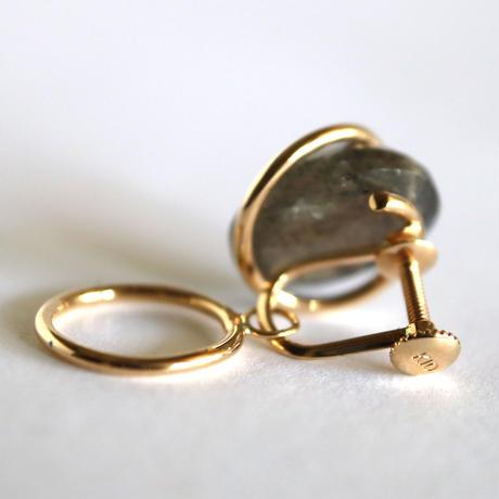 Circle / Clip on Earring   Labradorite イヤリング (single)