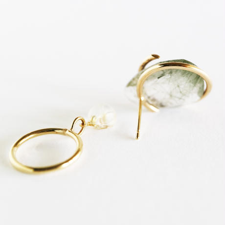 Circle / Pierced Earring Moss Rutile quartz 1 ピアス