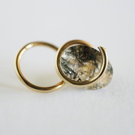 Circle / Pierced Earring Rutile quartz 2  ピアス   (single)